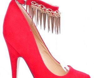 red heels, spikey heels, and high heel pumps image