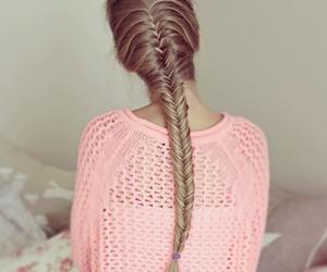 hair, pink, and braid image