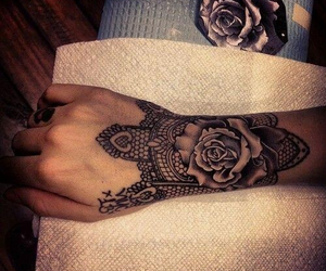 arm tattoo, design, and flower image