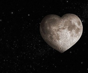 heart, moon, and night image