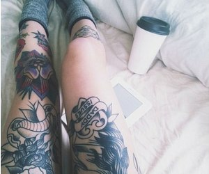 tattoo, legs, and coffee image
