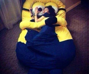 bed, minions, and yellow image