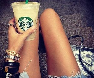 starbucks, coffee, and legs image