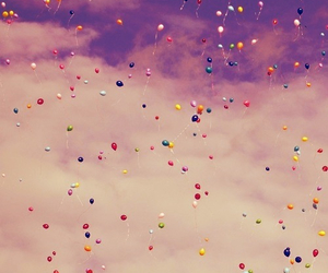 ballons, purple, and sky image