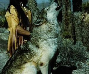 wolf and native american image