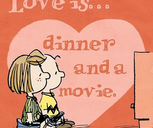 love, dinner, and movie image