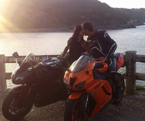 love, motorcycle, and couple image