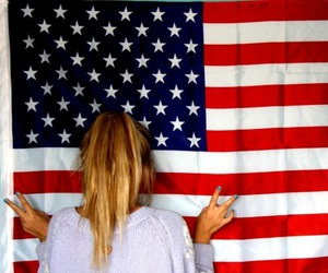 usa, flag, and blonde image
