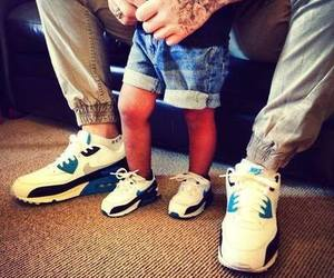 baby, nike, and dad image