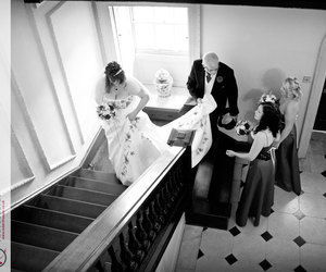 black & white, dad, and bride image