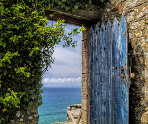 sea, door, and blue image