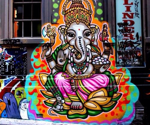 art, elephant, and street image