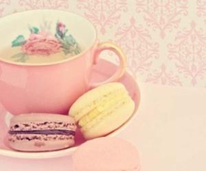 tea, pink, and macaroons image