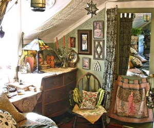 bedroom, room, and hippie image