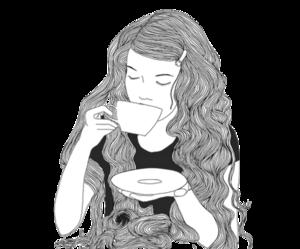 girl, tea, and art image