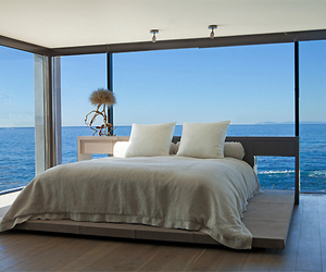 bedroom, sea, and bed image
