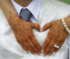 bride, heart, and henna image