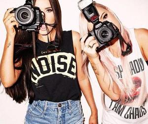 camera, girl, and friends image
