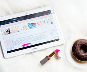 lipstick, pink, and ipad image