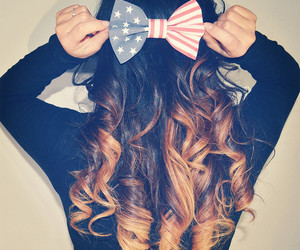 hair, bow, and usa image