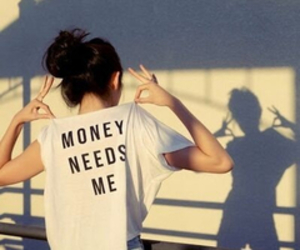 money, girl, and shirt image