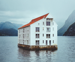 house, sea, and water image