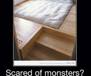 bed, funny, and monster image