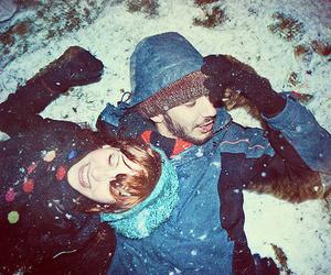 snow, couple, and girl image