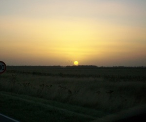 rising, sunset, and road image
