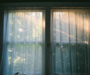 window, curtains, and vintage image