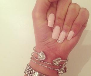 nails, pink, and bracelet image