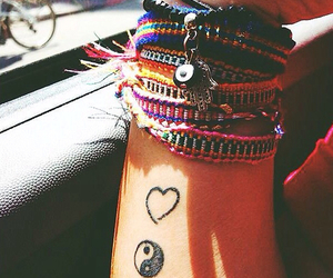 bracelet, tattoo, and heart image