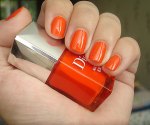 nails, orange, and dior image