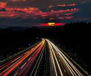 road, sunset, and light image