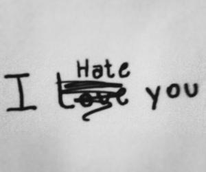 hate, you, and black and white image