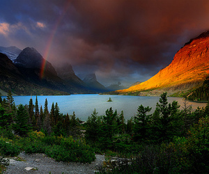 rainbow, lake, and mountains image