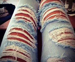 denim, legs, and ripped image