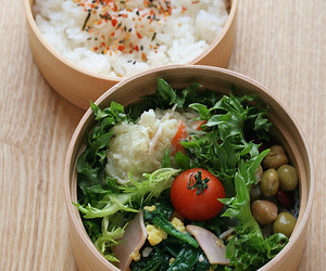 food, rice, and salad image