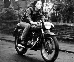 motorcycle and black and white image