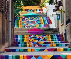 stairs, art, and colorful image