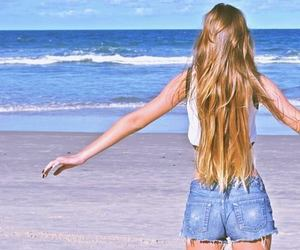 beach, long hair, and sea image