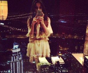 girl, night, and city image