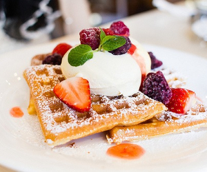delicious, sweet, and waffles image