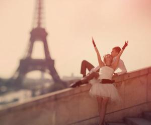 boy and girl, paris, and romance image
