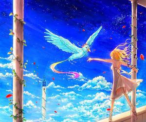 anime girl, anime bird, and beautiful image