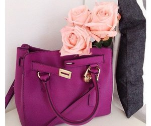 bag, rose, and flowers image