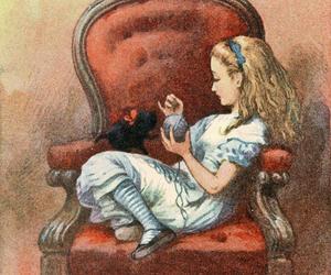 alice in wonderland, art, and cat image