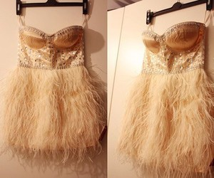 dress, fashion, and feather image