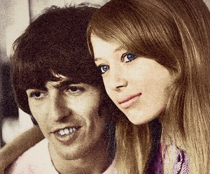 george harrison, pattie boyd, and love image