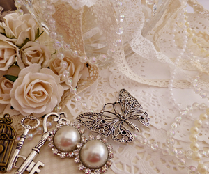 vintage, butterfly, and key image